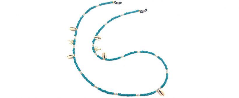 Boho Beach Sunny Necklace - Turquoise Palm Tree