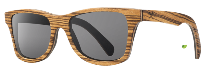 Shwood Canby (Select): Zebrawood / East Indian Rosewood - Grey Polarized