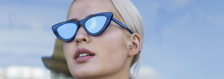 Blauwe zonnebrillen